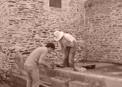 Pose du mur de parpaings
